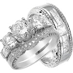 His and Her Sterling Silver Wedding Rings and Band Sets 8 / 9 / Silver