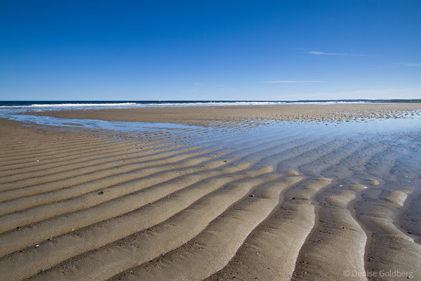 waves of sand, water pooling