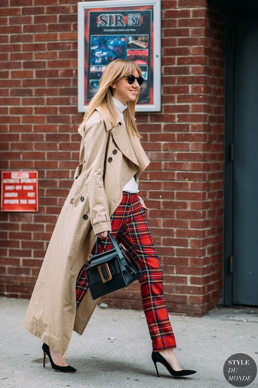 Le Fashion Blog Lisa Aiken NYFW Street Style Black Sunglasses Classic Trench Coat Red Tartan Pants White Turtleneck Black Pumps Via Style Du Monde