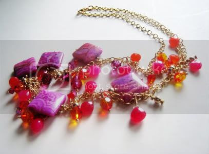 Hot Pink and Juicy Orange Chalcedony Necklace by Little Bear's Mom
