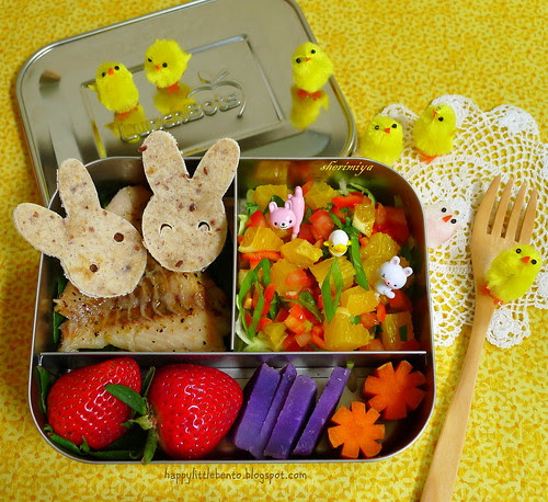 Easter Bunny Pals Deconstructed Fish Tacos LunchBot Bento by sherimiya ♥