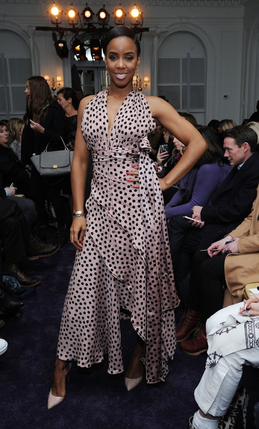Kelly Rowland spotted wearing a pink and black polka dot ruffle gown from the brand's Spring 2014 collection