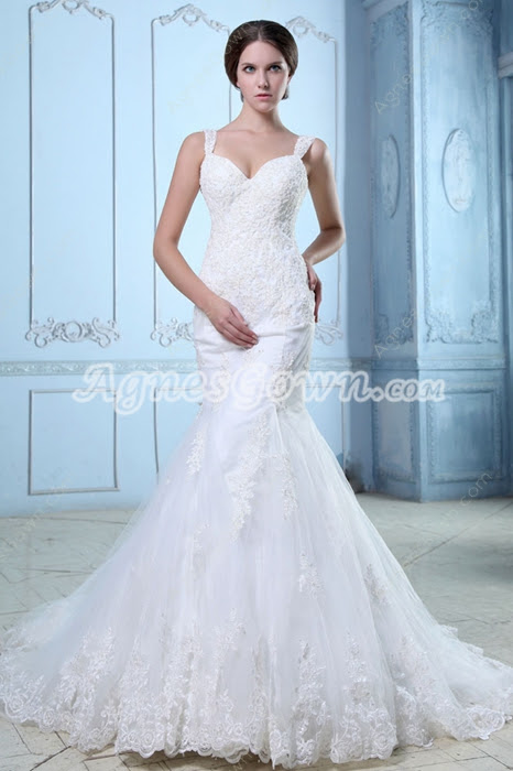 Lace Wedding Dresses,Terrific Low-Cut Straps Fishtail/Mermaid Lace Wedding Gown  at