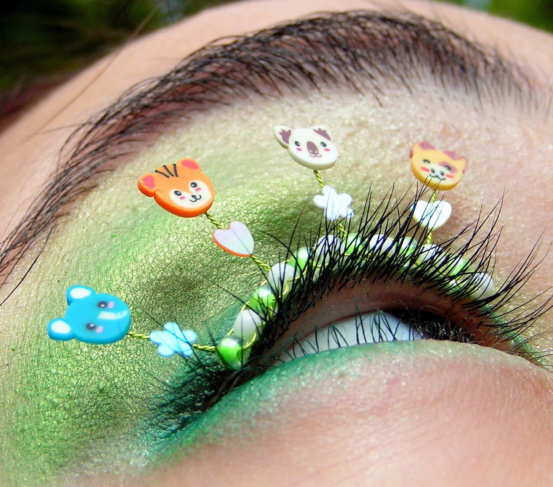 Baby Zoo Animal Eyelash Jewelry - false eyelashes with elephants, tigers, koalas and giraffes