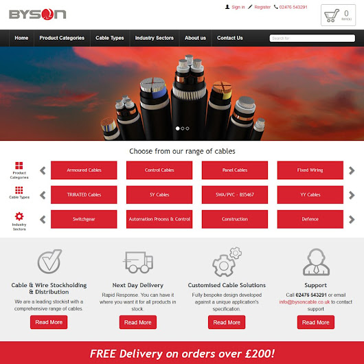 New X-Cart website for Byson Cables | Zone1 Creative