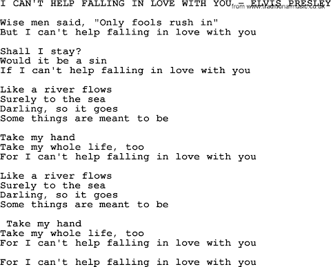 I Can T Help Falling Love With You Lyrics