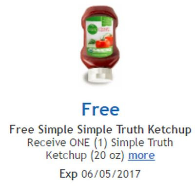 Kroger/Ralphs Free 20-Oz Simple Truth Organic Ketchup via Facebook – Exp. June 5, 2017