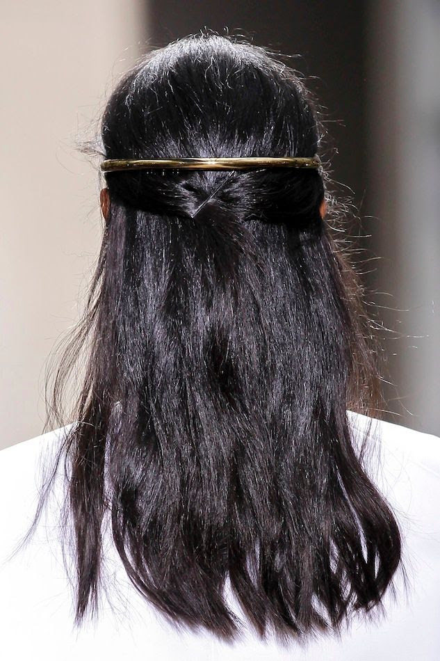 Le Fashion Blog Balenciaga SS 2013 Romantic Black Haircolor Half Updo Gold Halo Hair Accessory Wedding Bride Inspiration photo Le-Fashion-Blog-Balenciaga-SS-2013-Romantic-Black-Haircolor-Half-Updo-Gold-Halo-Hair-Accessory-Wedding-Bride-Inspiration.jpg