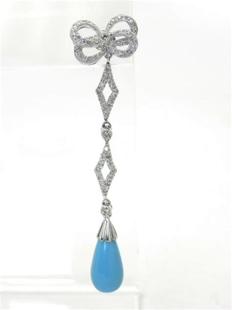 ladies  white gold turquoise briolette diamonds earring