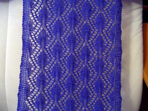 lace scarf - post blocking closeup