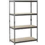 """Muscle Rack 4-Shelf Steel Shelving Silver-Vein 18"""" D x 36"""" W x 60"""" H"""