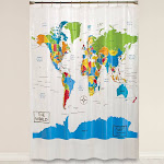 """Saturday Knight Ltd World Map Collection Easily Fit Whimsical Geography Bath Shower Curtain - 70x72"""" Multicolor"""