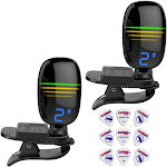 Front Row Chromatic Clip-On Guitar Tuner 360-Degree Screen w/ Picks - 2 Pack
