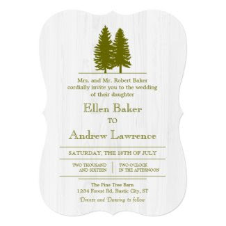 Elegant Rustic Pine Trees on White Wood Background Card