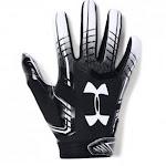 (Youth Medium, Black (001)/White) - Under Armour Boys' F6 Youth Football Gloves