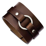 8 3/4in Stainless Steel Wide Brown Leather Cuff Bracelet with Buckle