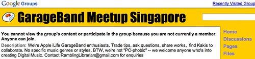GarageBand Meetup Singapore | Google Groups