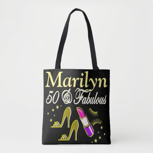 GOLD 50 AND FABULOUS PERSONALIZED TOTE BAG