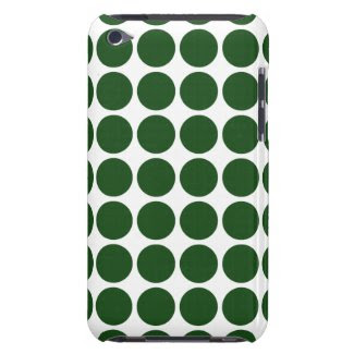 Green Polka Dots on White iPod Case-Mate Cases
