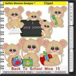 Back To School Mice Clipart - CU