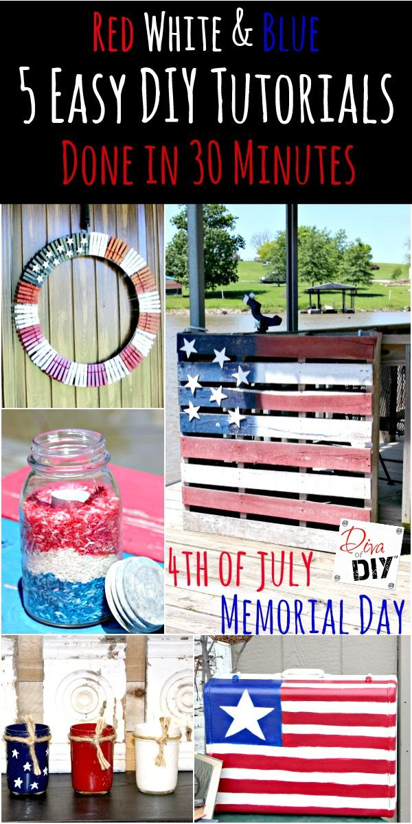5 quick and easy DIY decorations for your July 4th or Memorial Day celebration! You can finish these July 4th crafts in 30 minutes! The Perfect Patriotic Decorations!