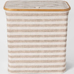 Soft Sided Laundry Hamper With Bamboo Rim Lid -Striped Beige - Threshold , Beige Gray White