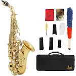 lade brass golden carve pattern bb bend althorn soprano saxophone