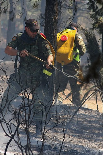 Greek civil defence teams dealing with the aftermath of a forest fire near Thessaloniki.