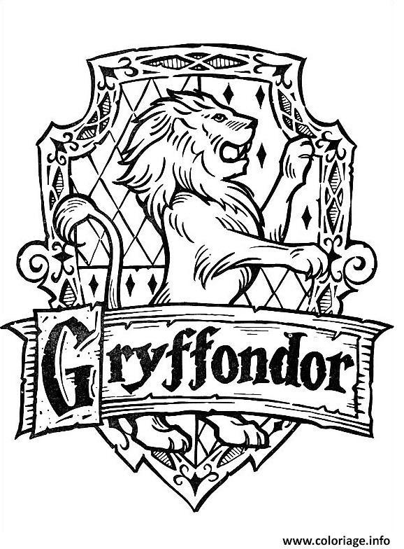 Coloriage Blason De Gryffondor Harry Potter Jecoloriecom