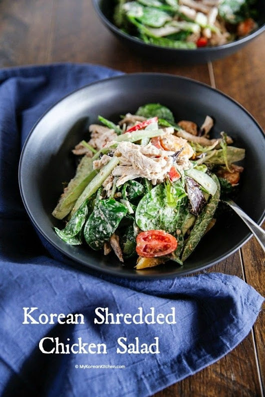 Korean Shredded Chicken Salad with Creamy Sesame Mayo Dressing - My Korean Kitchen