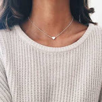 LittleB Simple Choker Heart Pendant Necklace for women and girls. (Silver)