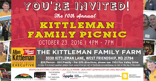 Get Tickets to the 10th Annual Kittleman Family Picnic