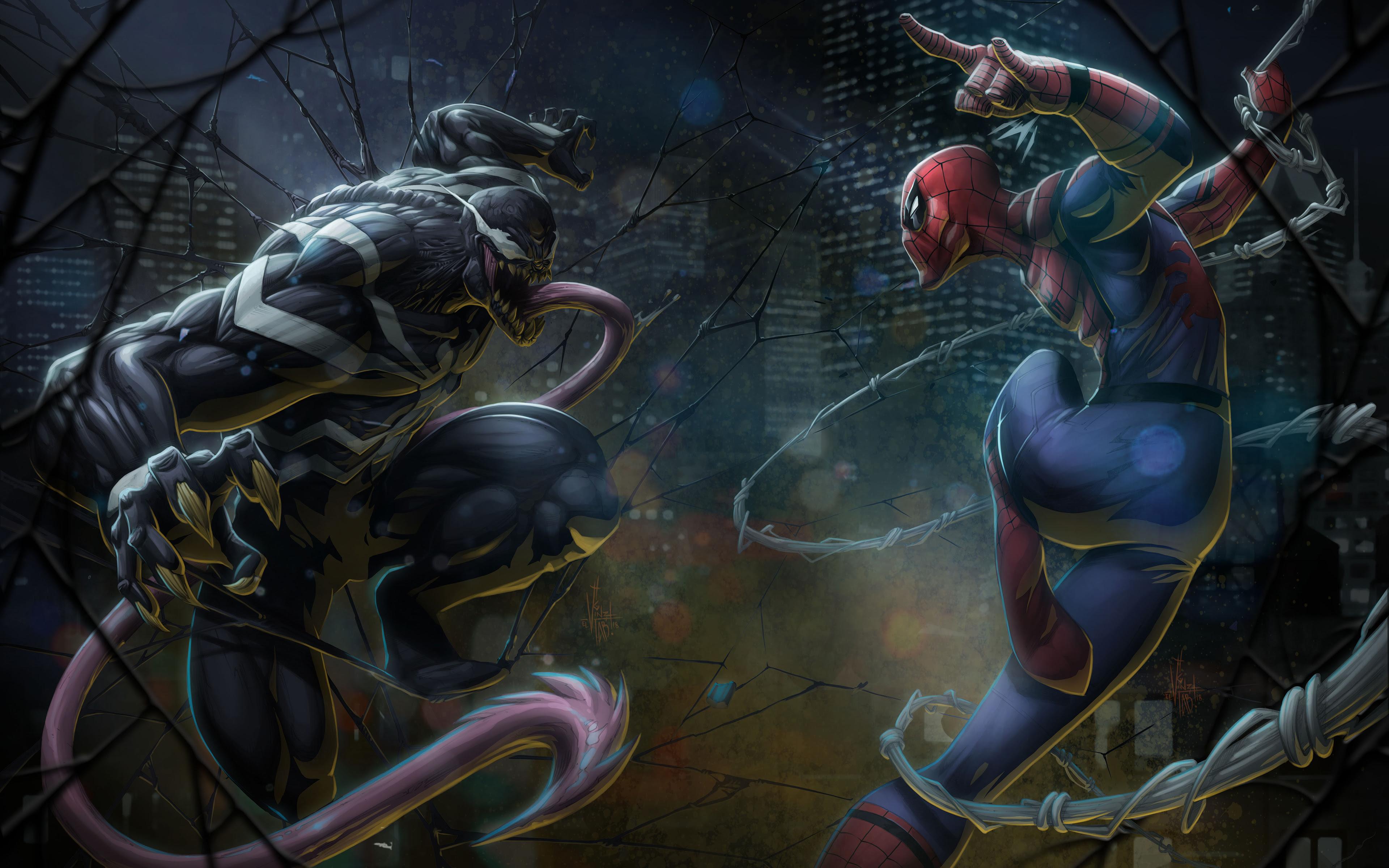 Venom Vs Spiderman Wallpaper 4k