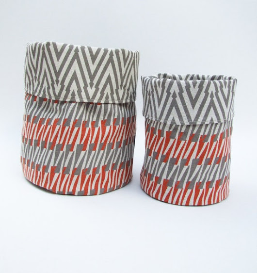 Reversible Fabric Storage Basket in Thorns and by sarahwaterhouse