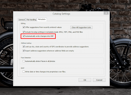 Automatically Write Changes into XMP in Lightroom