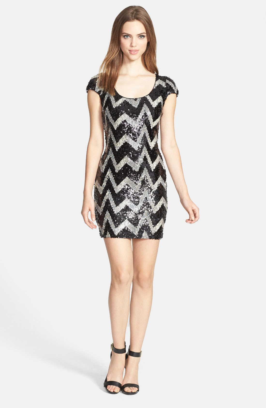 Sequin chevron stripes bodycon party dress mini