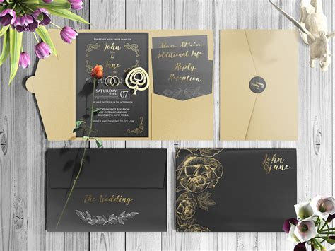 Free Beautiful Wedding Invitation Card Mockup PSD Set