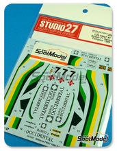 Calcas 1/20 Studio27 - Williams Ford FW07 Ram Racing - Banco Occidental - Nº 7 - Emilio De Villota - British F1 Series 1980 para kit de Tamiya TAM20014
