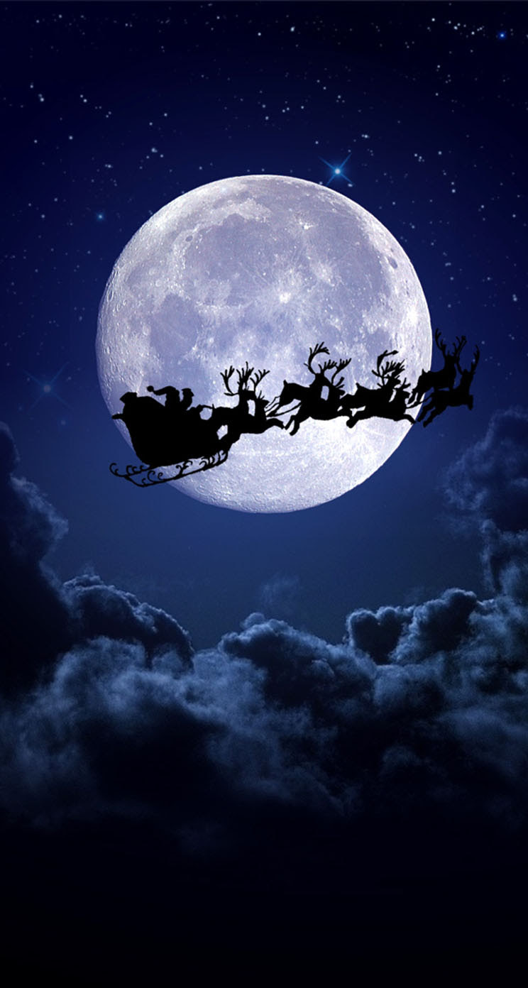 Christmas Night Moon - The iPhone Wallpapers