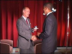 Barack Obama gives Harry Smith a birthday cupcake