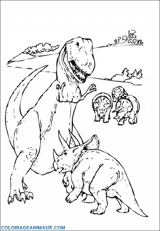Coloriage Dinosaure T Rex Contre Tricératops à Imprimer