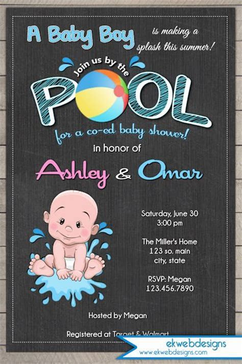 Pool Party Boy Baby Shower Invitation