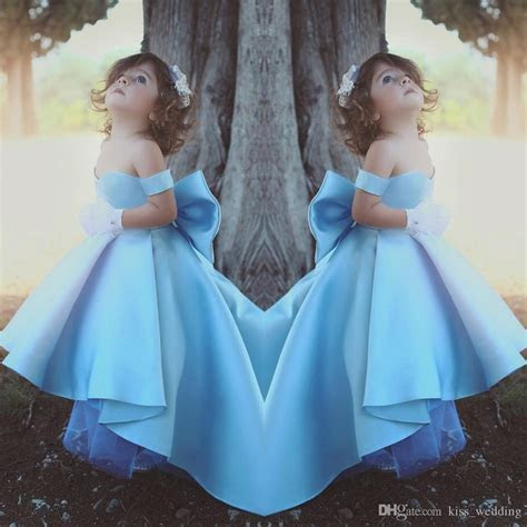 Adorable Sky Blue Satin Bow Flower Girl Dress High Low