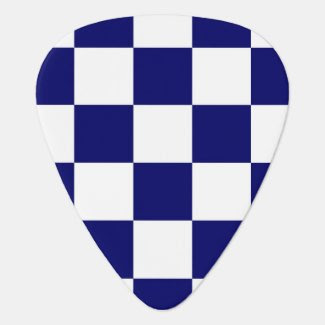 Checkered Navy and White Guitar Pick