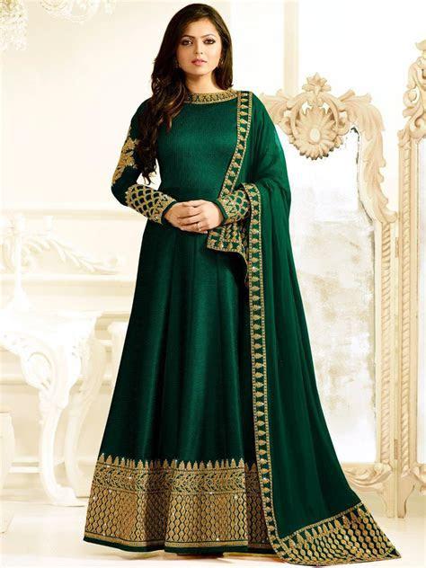 Buy Drashti Dhami bottle green color silk party wear