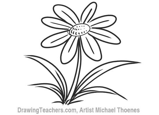 Cartoon Flower How To Draw A Flower Step By Step