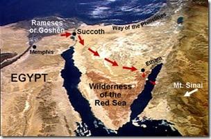Fotografia ripresa dal satellite, dove è segnato l'itinerario percorso dagli ebrei, dall'Egitto fino a Etàm.