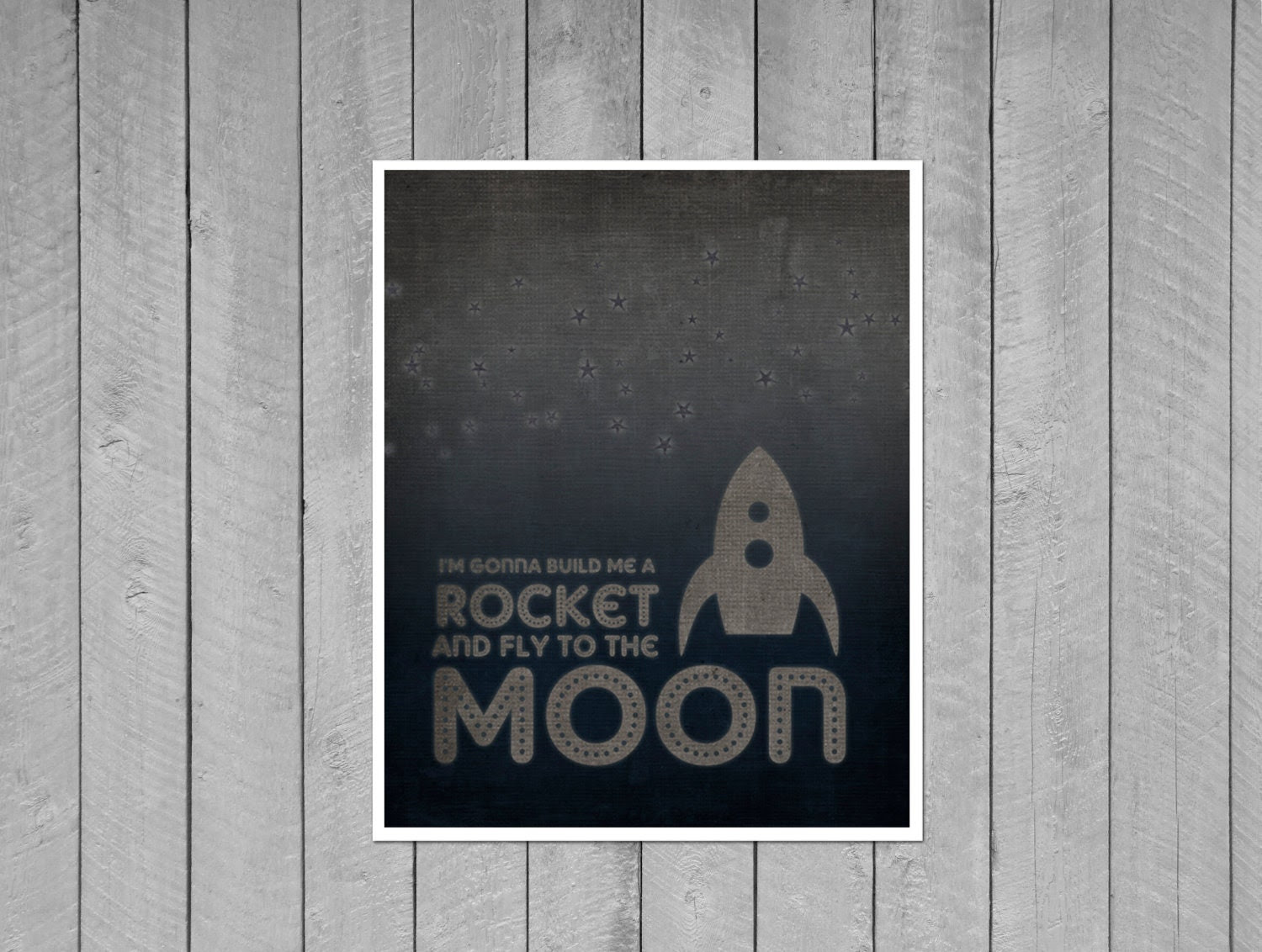 Build me a Rocket and Fly to the Moon Retro Space Rocket Digital Art Print Stars - Navy Blue Gray