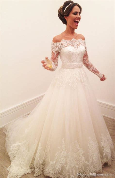Discount Long Sleeve Wedding Dresses A Line Lace Off