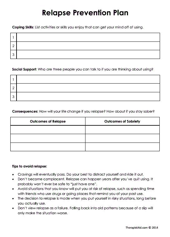 Relapse Prevention Plan (Version 2) (Worksheet ...